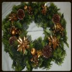 "GOLD WREATH WITH POINSETTIA 18""  598001 OUT OF STOCK"